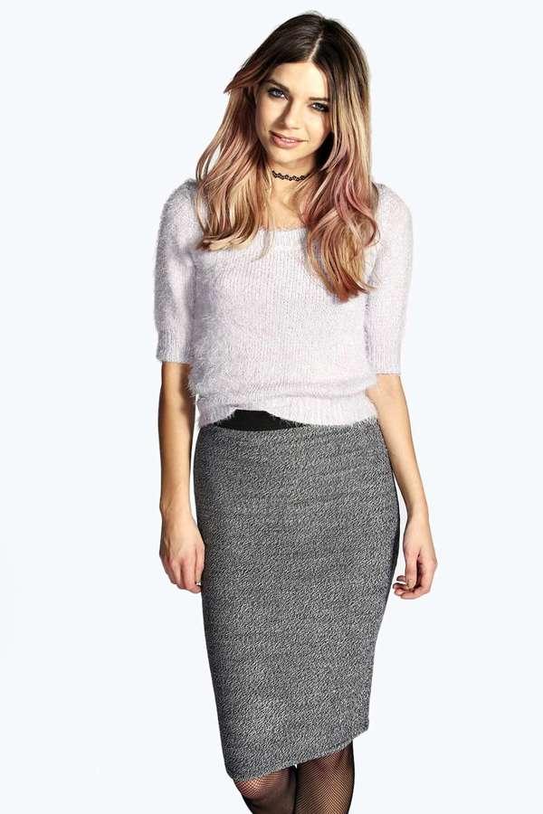 С чем носить серые узкие юбки