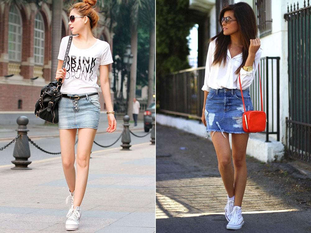 Что одевают с короткой джинсовой юбкой