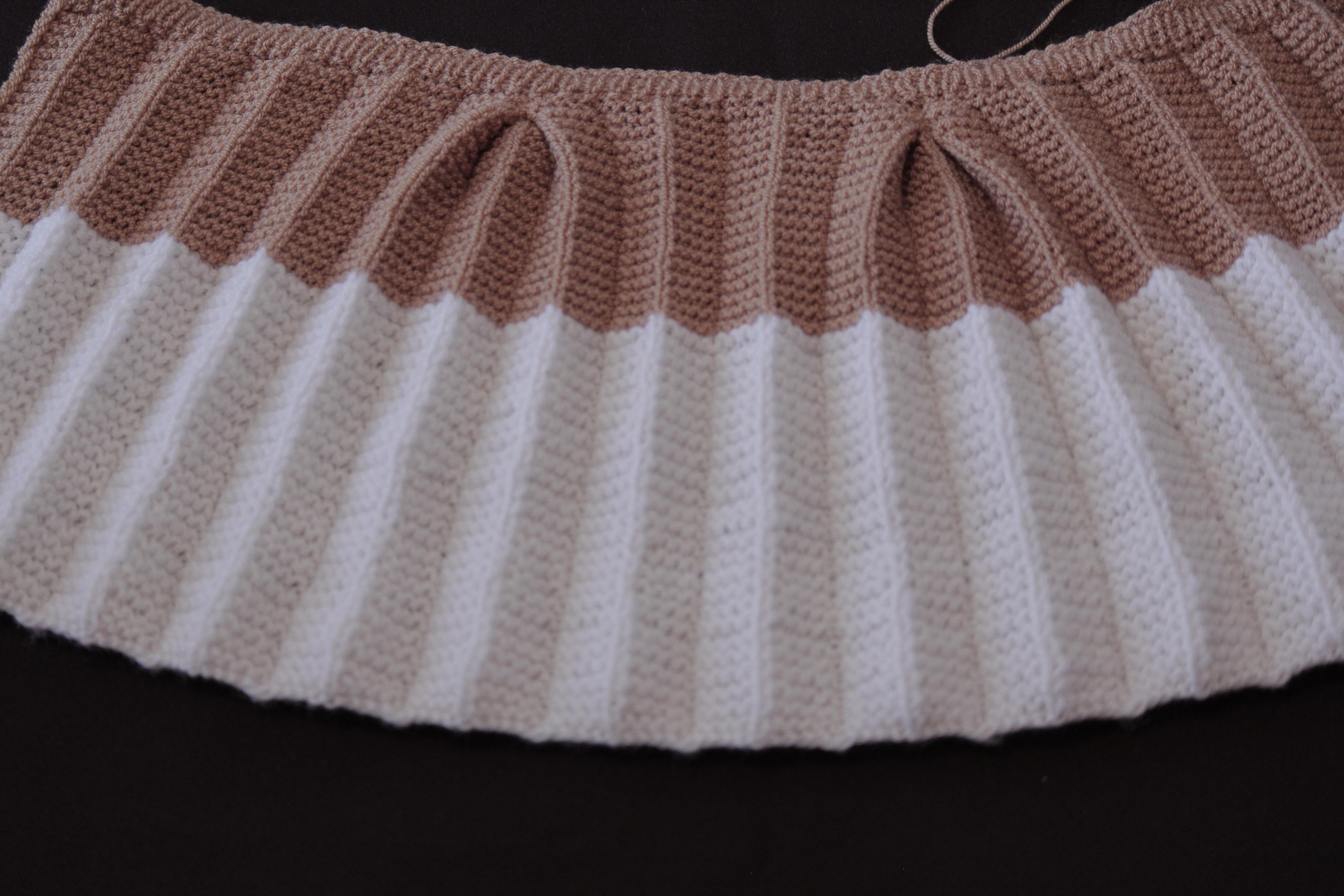 Вязание юбки спицами в складку