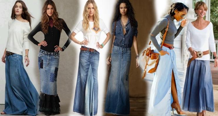 С чем носить длинную юбку из джинсы