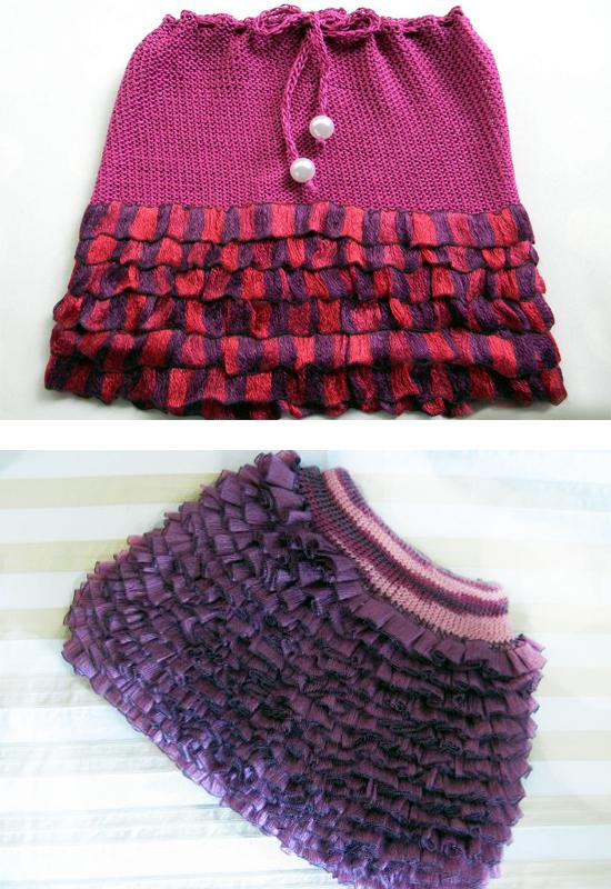 Вязание юбки с ленточной пряжи 705