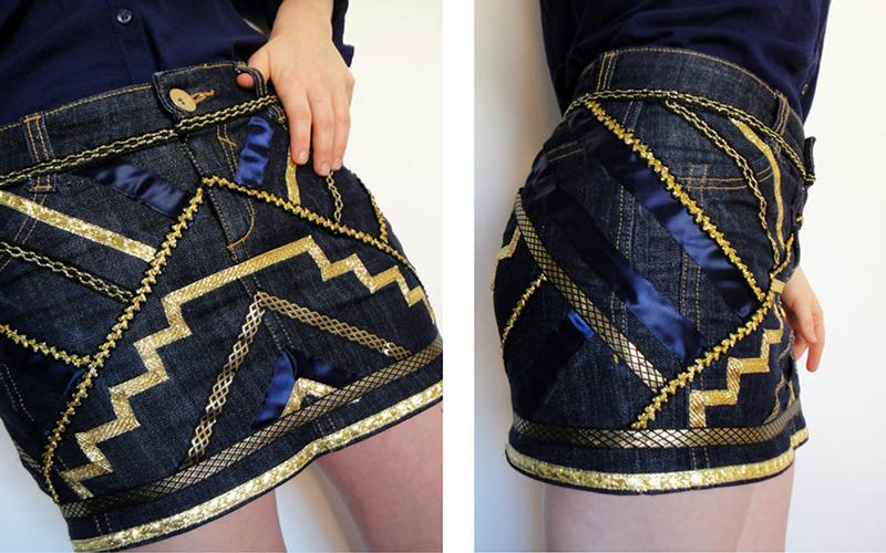 как украсить джинсовую юбку