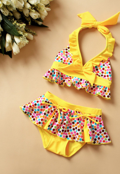 Swimsuits-Character-Girls-2015-Direct-Selling-Promotion-Swimsuit-For-Prancha-De-Cabelo-Color-Bow-Skirt-Split