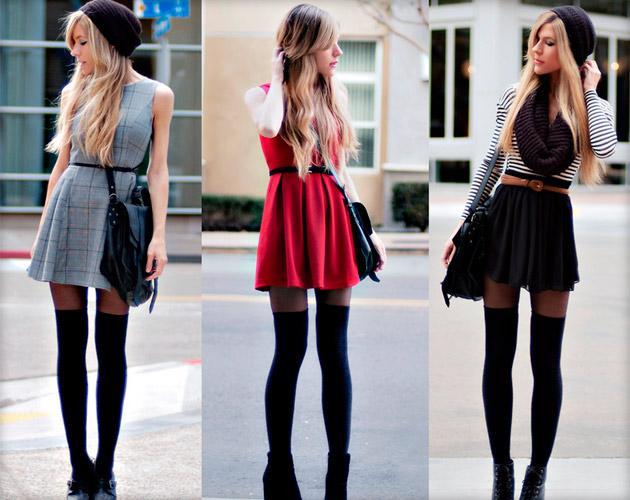 одела чулки под юбку
