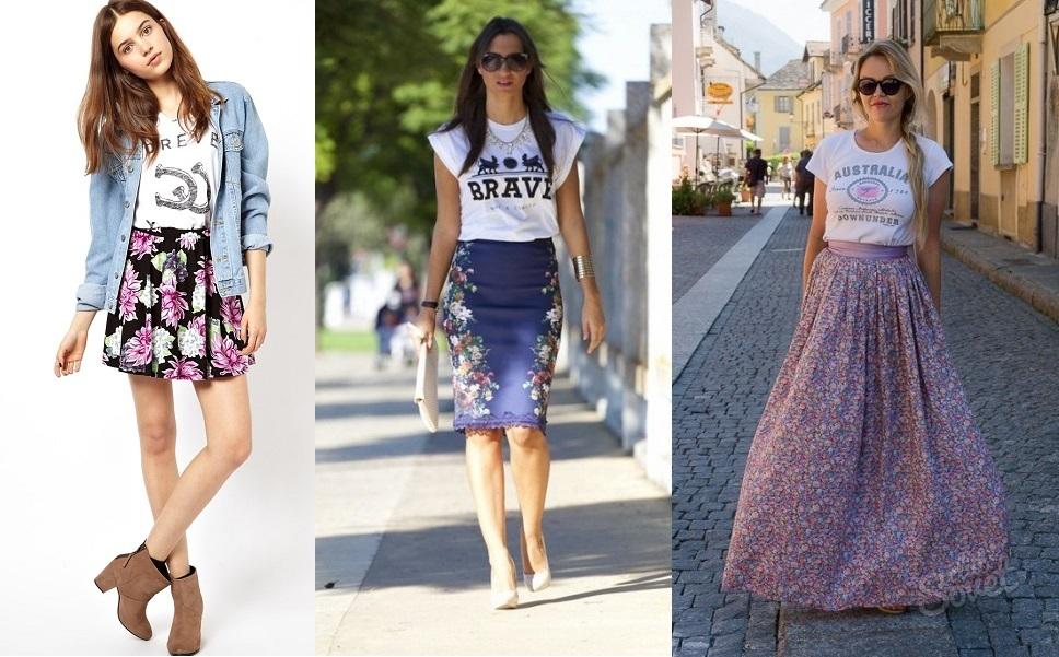 Как носить длинную юбку с футболкой