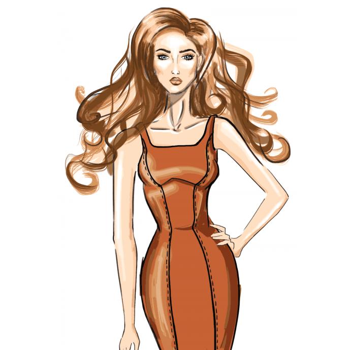Чертеж выкройки женского платья с рельефами