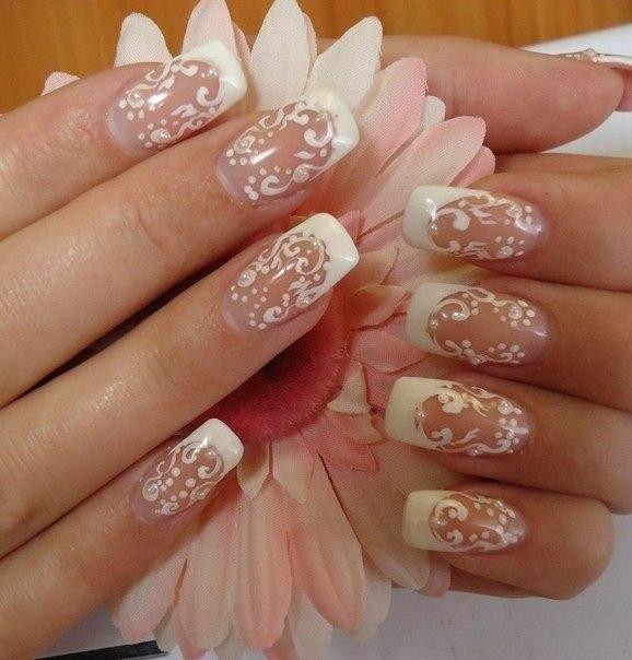 Свадебный дизайн ногтей лаком