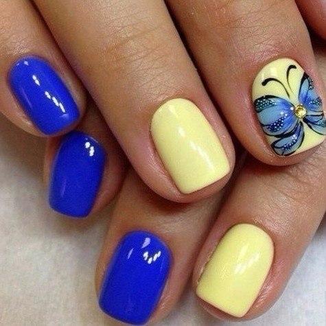 Сине желтый дизайн ногтей