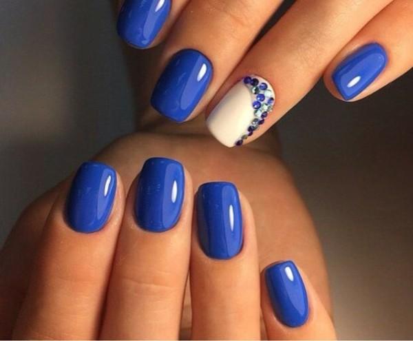 Синий маникюр: фото дизайна ногтей синего цвета, маникюр с