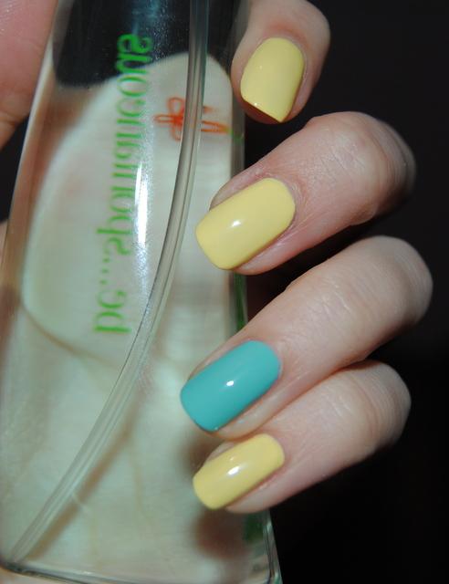Желто-бирюзовый маникюр фото