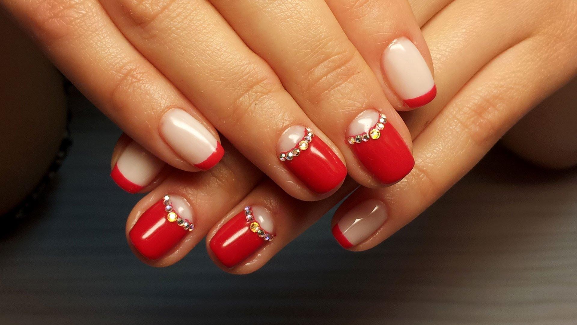 Фото шеллак красный на короткие ногти дизайн