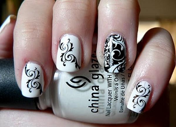 Ногти черно белая роспись
