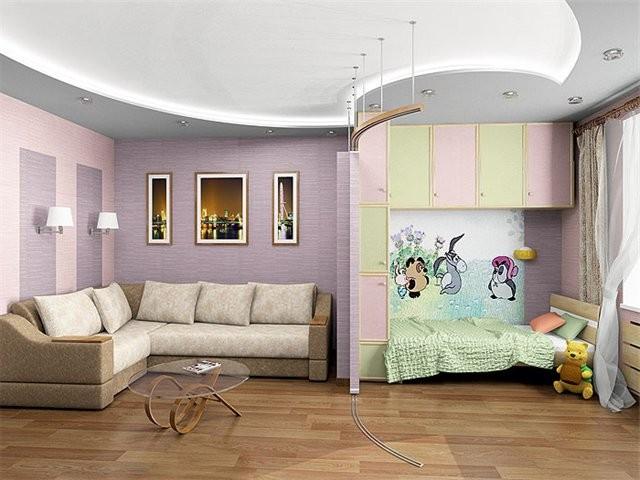 Дизайн однокомнатной квартиры с детьми фото