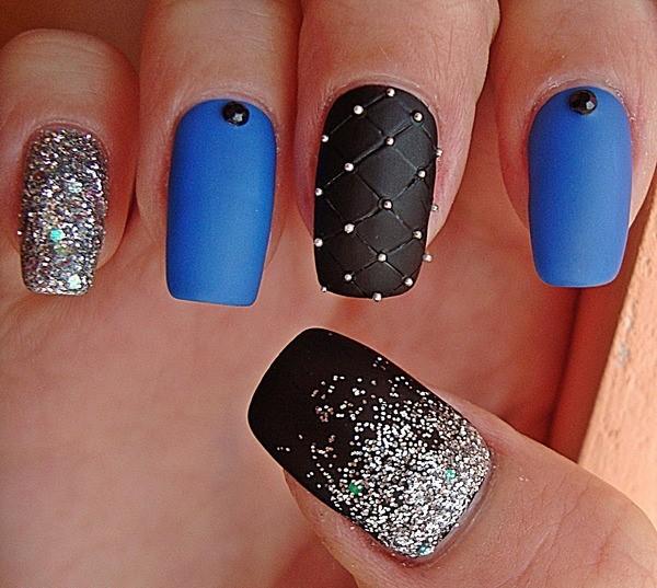 синие ногти фото нарощенные