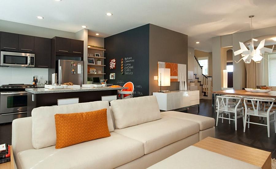 Современный дизайн интерьер кухни гостиной