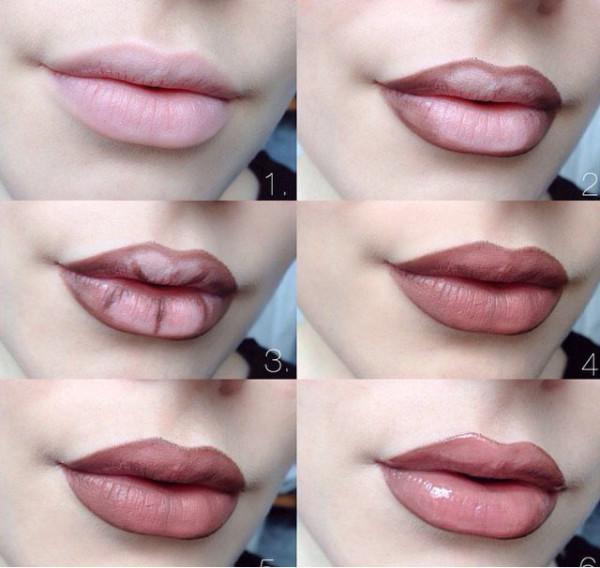 Макияж губ эффект увеличения фото пошагово
