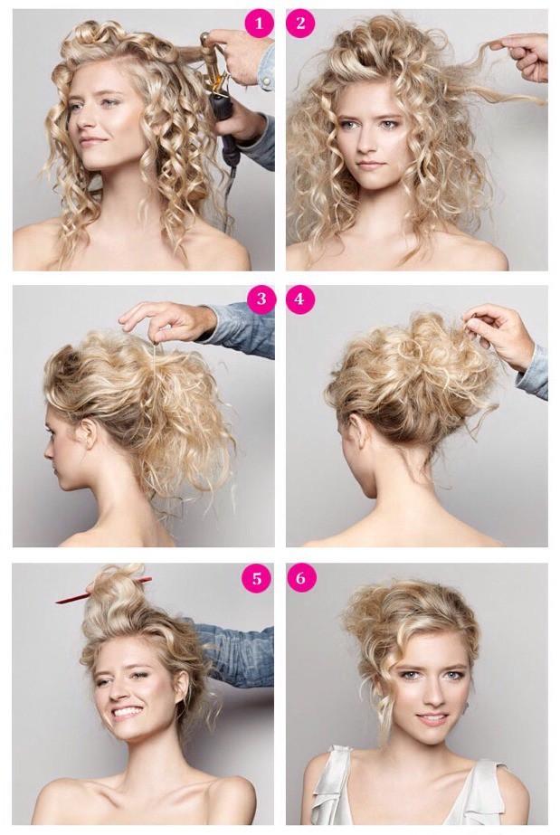 Сделать прическу на кудрявых волосах самой