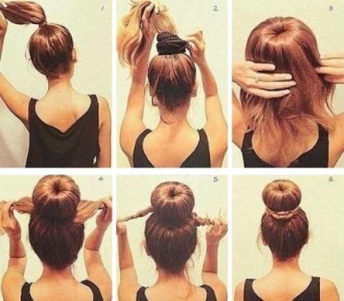 Пучок за 5 минут на средние волосы