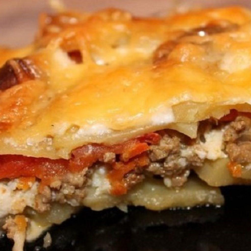 Картошка с фаршем и грибами в духовке пошаговый рецепт