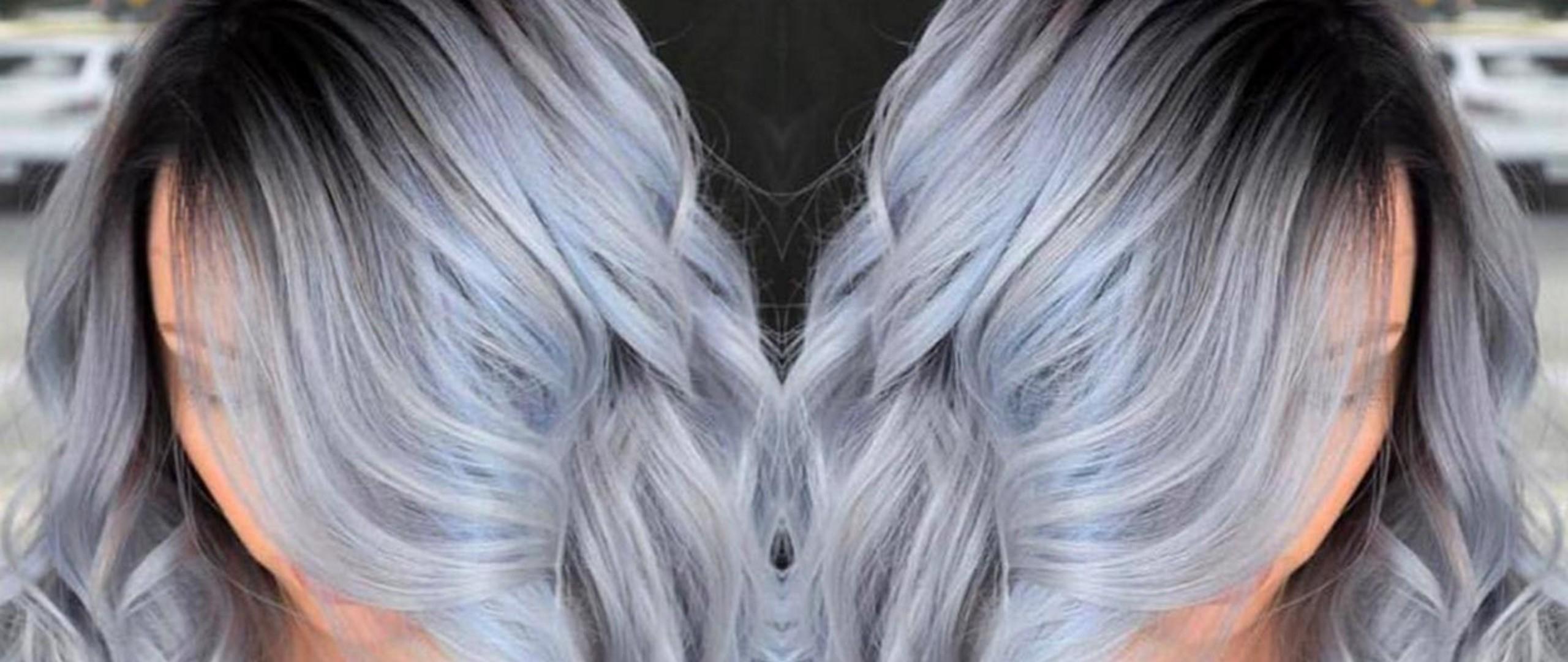 Модная покраска для седых волос 113