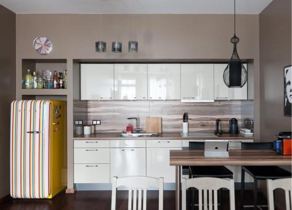 Стены-коричневого-цвета-в-интерьере-кухни-гостиной-1