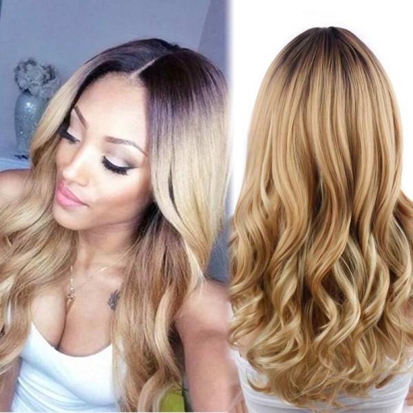 Блондинка-Ломбер-Парик-Природный-Дешево-Парик-Светлые-Волосы-Темные-Корни-Длинные-Вьющиеся-Волосы-Синтетический-Парик-Для