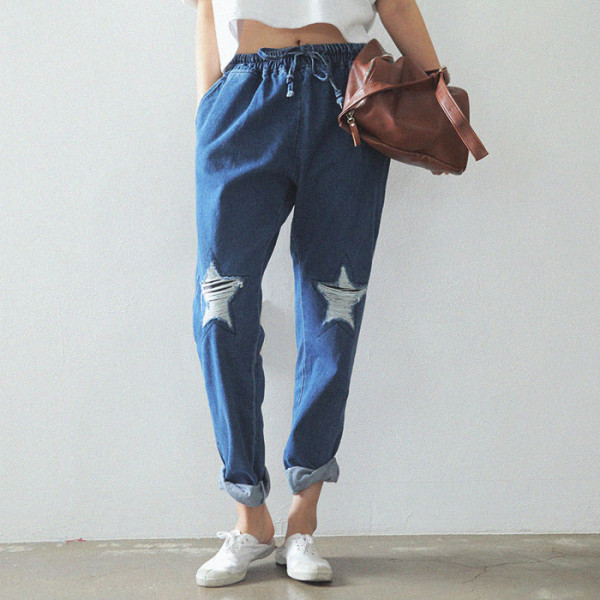 2015-fashion-Star-Classic-jeans-Women-Pants-Drawstring-Elastic-Waist-Comfy-Personality-star-Holes-ripped-jeans
