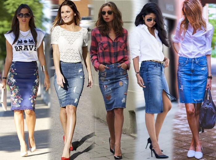 Как и с чем одеть джинсовую юбку