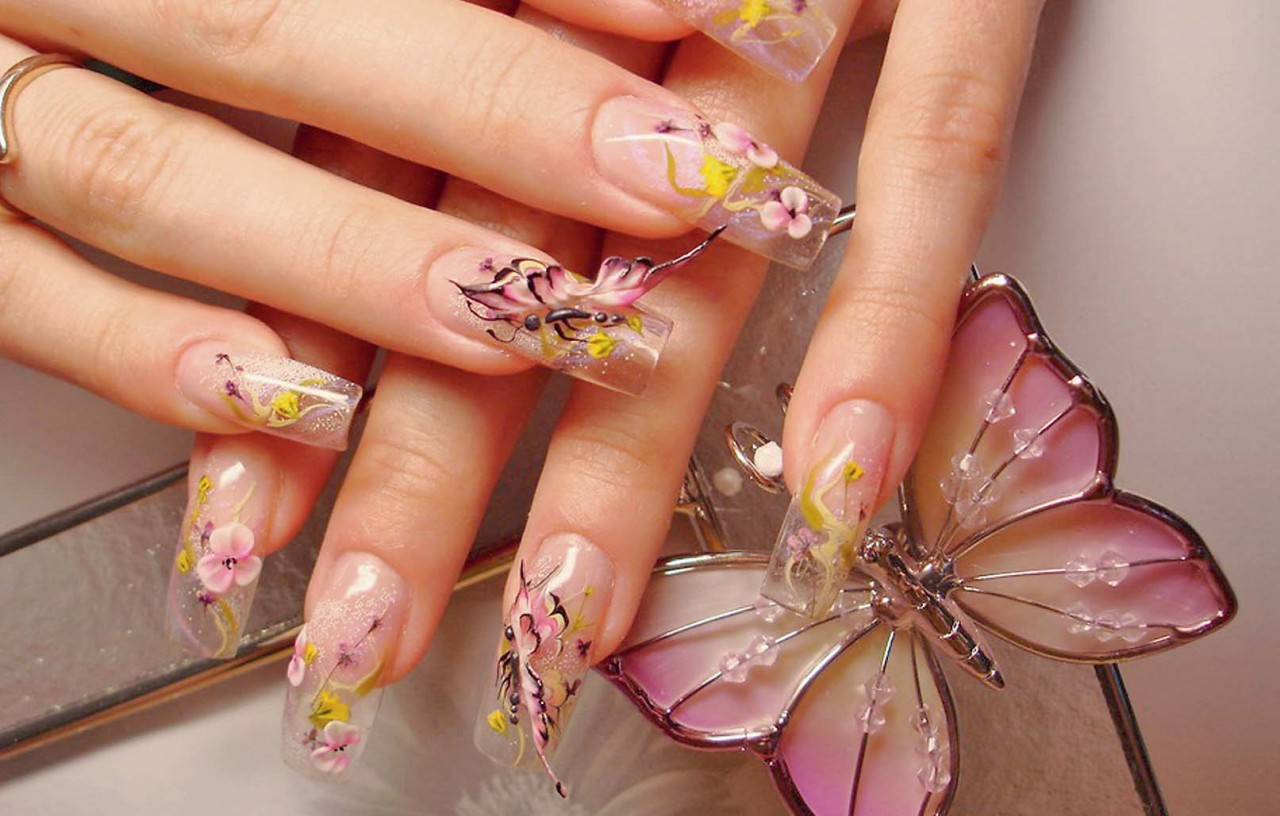 Наращивание ногтей дизайн бабочка