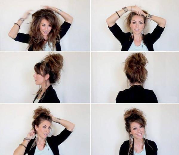 Как сделать прическу небрежные волосы 677