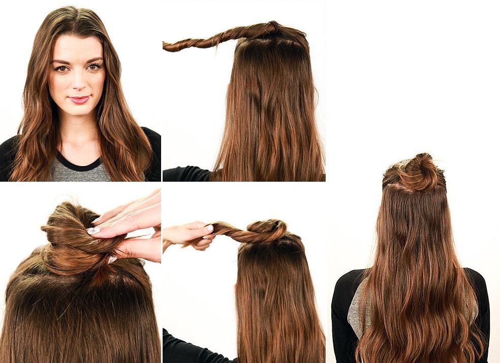 Как сделать пучок из волос с распущенными волосами
