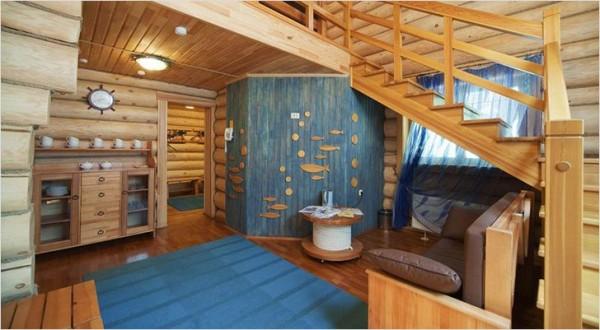 Дизайн в морском стиле в бане