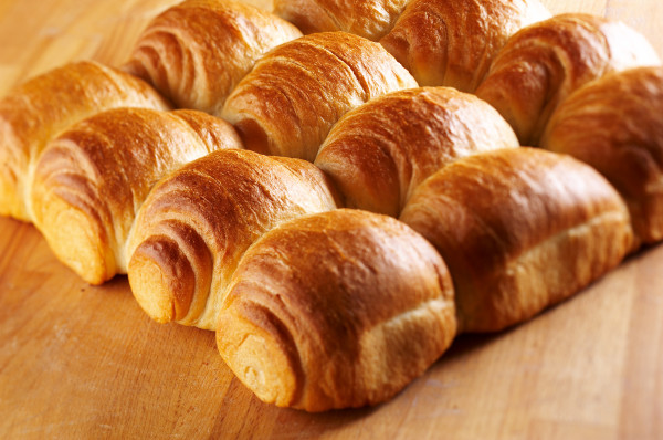 Fresh crunchy bread rolls for breakfast