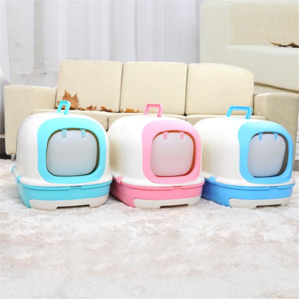 Кошка-ТУАЛЕТ-Цвет-Туалет-Пластиковые-Закрытый-Ящик-Для-Мусора-Совок-Песка-Крытый-Crofe-Щенка-приучение-к