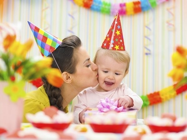 1st-birthday-decorations-paper-hats-colorful-wall-banners