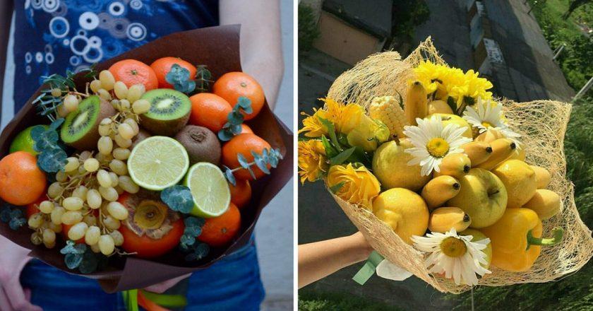 Простой букет из фруктов своими руками 700