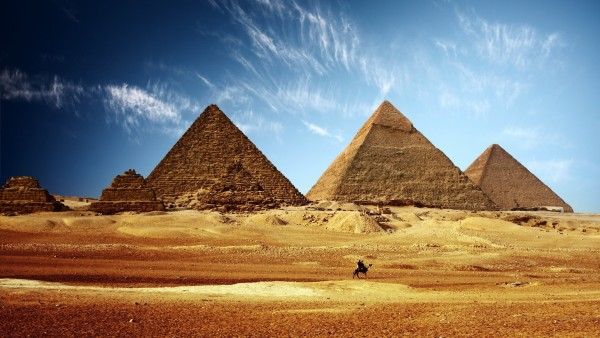 World___Egypt_A_lone_camel_on_a_background_of_the_pyramids_099603_