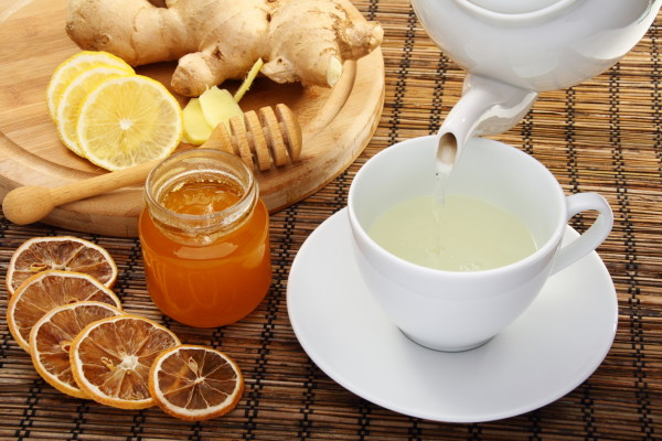 Ginger tea with honey and lemon.