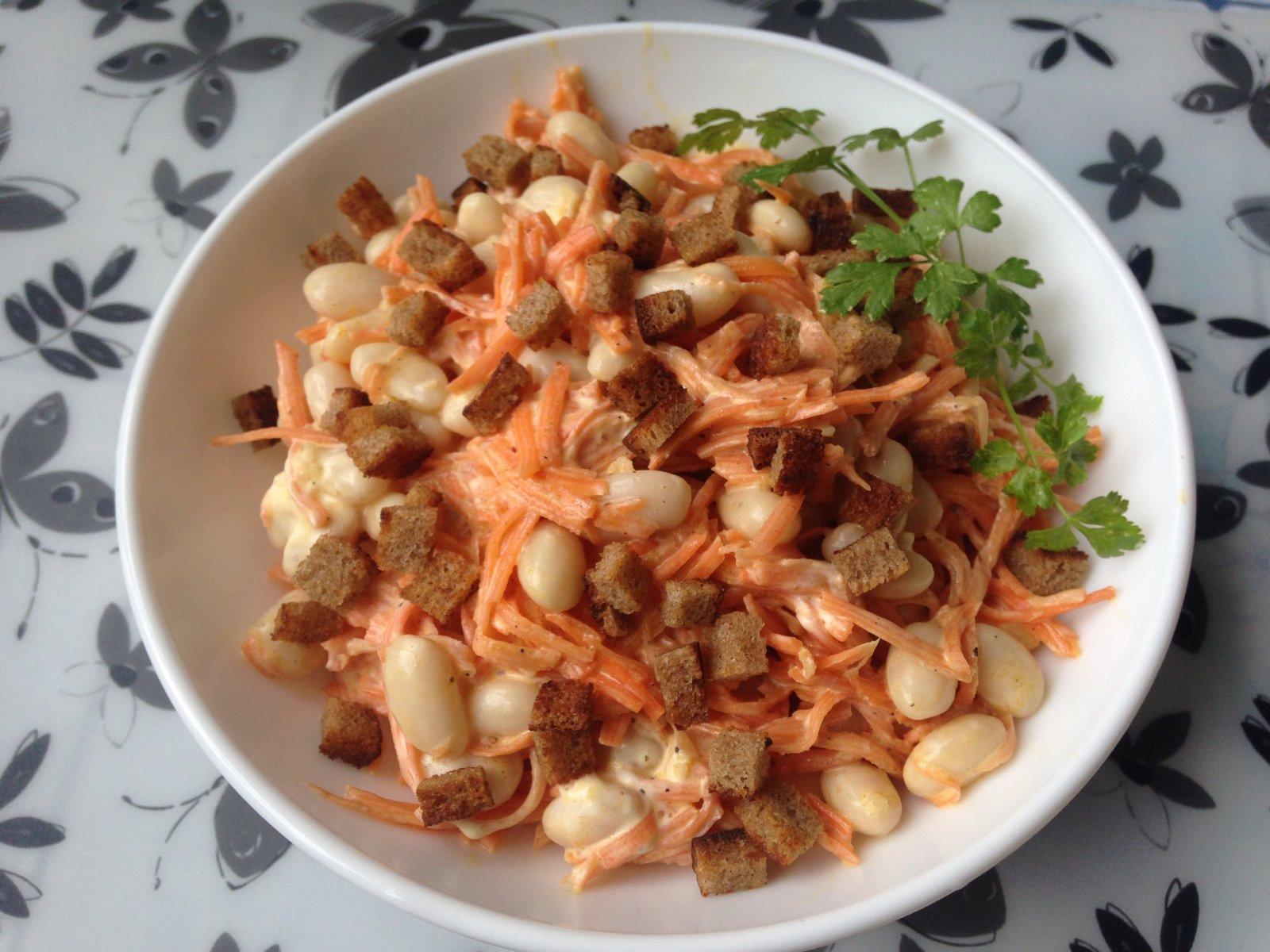 Салат с морковью и сухариками и фасолью рецепт с 180